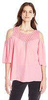 NY Collection Women's Solid Elbow Angel Sleeve Cold Shoulder Top with Shirring AT Front and Back Yoke