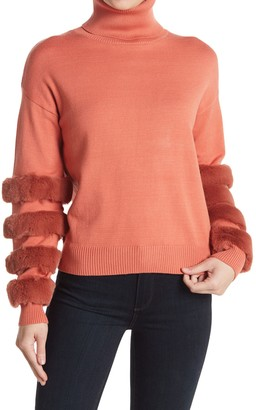 Cliche Turtleneck Faux Fur Stripe Sweater