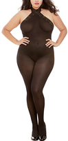 Dreamgirl Black Sheer Lace-Trim Lace-Up Halter Body Stocking - Plus