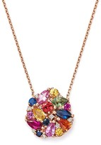 """Bloomingdale's Multi Sapphire and Diamond Cluster Pendant Necklace in 14K Rose Gold, 16"""""""