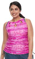 Free Country Plus Size Bust Enhancer Striped Keyhole Tankini Top