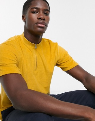 Selected zip neck terry polo in yellow