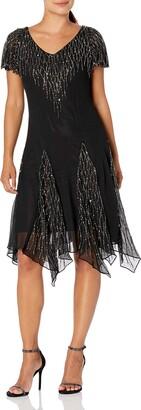 J Kara Women's Petite Hanky Hem Short Beaded Dress