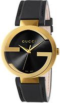 Gucci Men's Swiss Interlocking Black Leather Strap Watch 42mm YA133212
