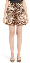 Dolce & Gabbana Embellished Leopard Print Mikado Skirt