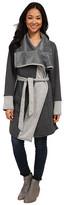 Mod-o-doc Fleece Velour Two-Tone Oversized Collar Tie Front Coat