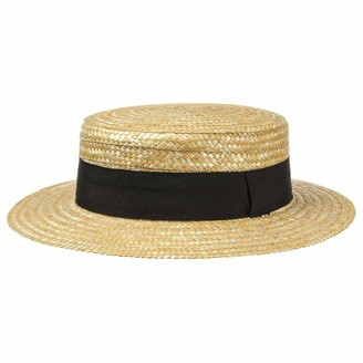 Lipodo Boater Straw Hat Ladies/Mens - Made in Italy - Sun hat Made of Wheat Straw - Gondolier hat for Spring/Summer - Hat with Grosgrain Ribbon Nature 55 cm