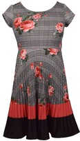 Bonnie Jean Girl's 7-16 Floral Glen Plaid Scuba Skater Dress