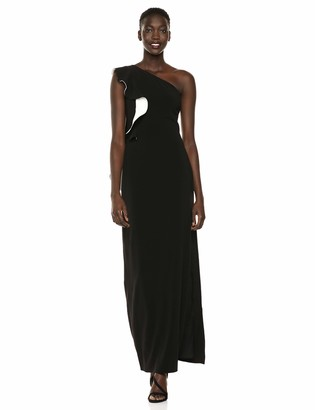 Halston Women's Flounce ONE Shoulder Crepe Gown