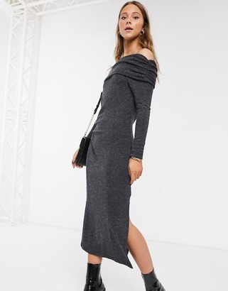 Topshop bardot knitted midi dress in charcoal-Grey