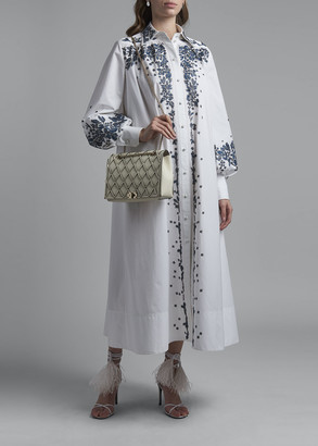 Valentino Long Embroidered Poplin Shirtdress