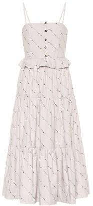 Ganni Floral cotton midi dress