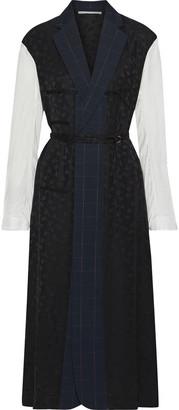 Stella McCartney Satin Jacquard-paneled Checked Wool Midi Dress