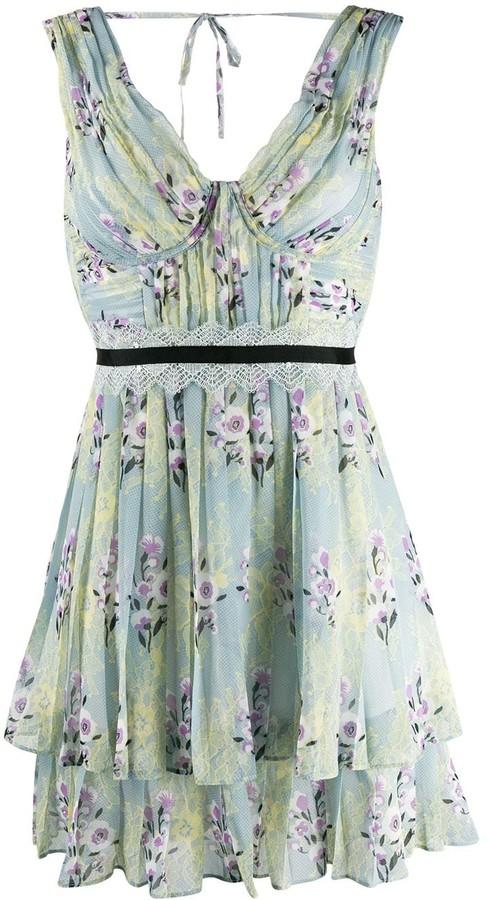 Self-Portrait Floral Lace Chiffon Dress