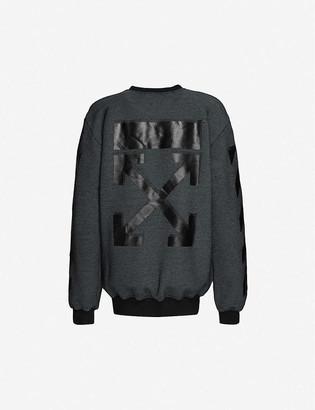Off-White Brand-trim crewneck cotton-blend sweatshirt