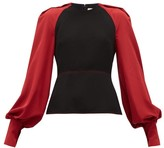 Roksanda Alana Silk-sleeve Crepe Blouse - Womens - Black Multi