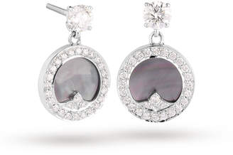 Mother of Pearl Mappin & Webb Treasure Empress Grey Drop Earrings in 18ct White Gold
