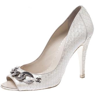 Chanel White Python CC Chain Peep Toe Pumps Size 39
