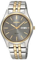 Seiko Mens Gray Dial Two-Tone Stainless Steel Solar Watch SNE042, One Size , No Color Family