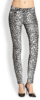 7 For All Mankind The Skinny Countour Waistband Leopard-Print Jeans