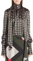 Fendi Women's Silk Satin Tie Neck Blouse