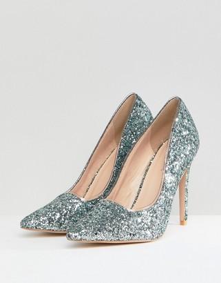 Public Desire Debbie Blue Glitter Court Shoes