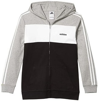 adidas Kids Color-Block Hooded Jacket (Big Kids) (Grey Heather) Boy's Clothing
