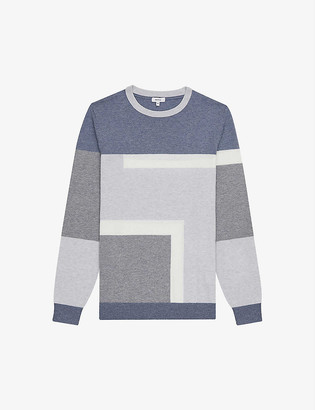 Reiss Comber colour-block wool and cotton-blend jumper