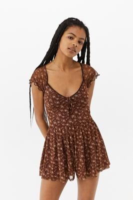 Urban Outfitters Milly Floral Playsuit - Brown XS at