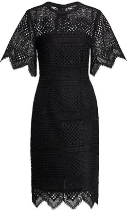 Carolina Herrera Crochet Lace Bell-Sleeve Sheath Dress