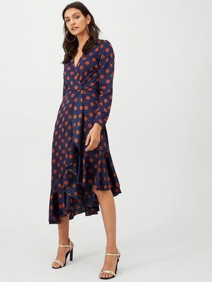 Very Asymmetric Hem Ruffle Wrap Dress - Spot