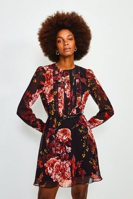 Karen Millen Long Sleeve Floral Print Short Dress