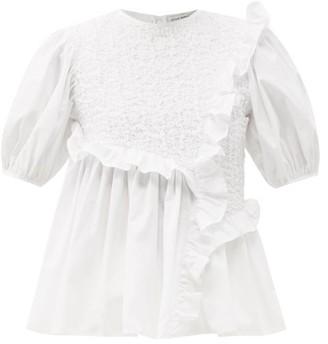 Cecilie Bahnsen Carlotta Ruffled Cotton-blend Poplin Top - White
