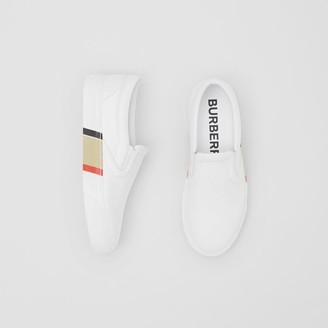 Burberry Bio-based Sole Stripe Print Leather Slip-on Sneakers