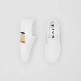 Burberry Stripe Print Leather Slip-on Sneakers