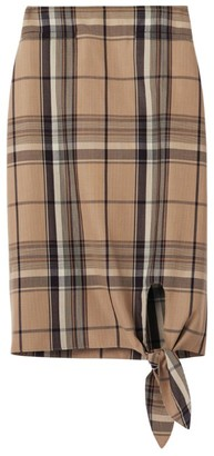 Burberry Tie-Front Check Skirt