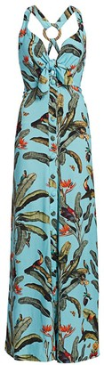 PatBO Tropical Print Halterneck Maxi Dress