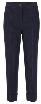 HUGO BOSS Relaxed-fit cuffed trousers in stretch denim