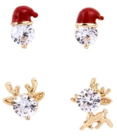 Betsey Johnson Cubic Zirconia Santa Stud Earrings Set
