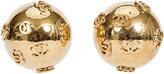 One Kings Lane Vintage Chanel Oversize Globe Earrings - Vintage Lux - gold
