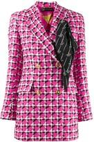 Versace Scarf Detail Checked Blazer