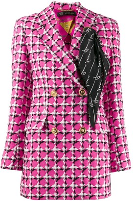 Versace Scarf Detail Checked Blazer