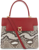 Launer Traviata leather and python-skin tote