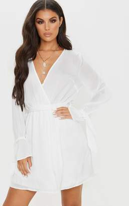PrettyLittleThing White Satin Wrap Cuff Detail Shift Dress