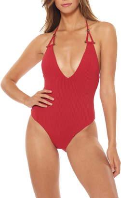 Red Carter Adanna Plunge One-Piece Halter Swimsuit