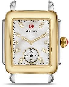 Michele Deco Mid Two-Tone Diamond Dial Watch Head, 29 x 31mm