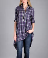 Lily Purple & Black Plaid Flannel Button-Front Tunic - Plus Too