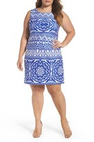 Taylor Medallion Print Scuba Sheath Dress (Plus Size)