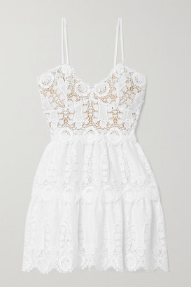 Miguelina Sara Crochet-trimmed Linen Mini Dress - White