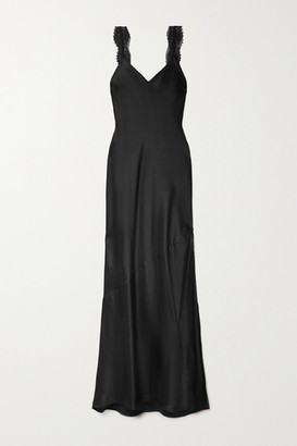 CAMI NYC The Christine Lace-trimmed Silk-charmeuse Maxi Dress - Black
